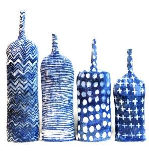 blue textile bottles